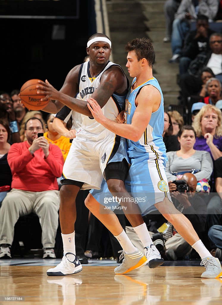 <a gi-track='captionPersonalityLinkClicked' href=/galleries/search?phrase=Zach+Randolph&family=editorial&specificpeople=201595 ng-click='$event.stopPropagation()'>Zach Randolph</a> #50 of the Memphis Grizzlies controls the ball against <a gi-track='captionPersonalityLinkClicked' href=/galleries/search?phrase=Danilo+Gallinari&family=editorial&specificpeople=4644476 ng-click='$event.stopPropagation()'>Danilo Gallinari</a> #8 of the Denver Nuggets on November 19, 2012 at FedExForum in Memphis, Tennessee.