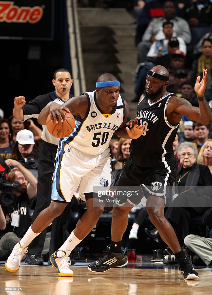Zach Randolph #50 of the Memphis Grizzlies controls the ball against Reggie Evans #30 of the Brooklyn Nets on January 25, 2013 at FedExForum in Memphis, Tennessee.