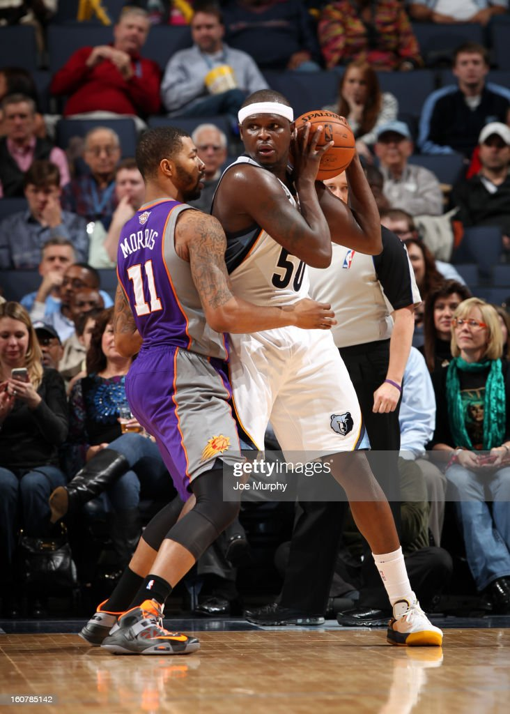 Zach Randolph #50 of the Memphis Grizzlies controls the ball against Markieff Morris #11 of the Phoenix Suns on February 5, 2013 at FedExForum in Memphis, Tennessee.