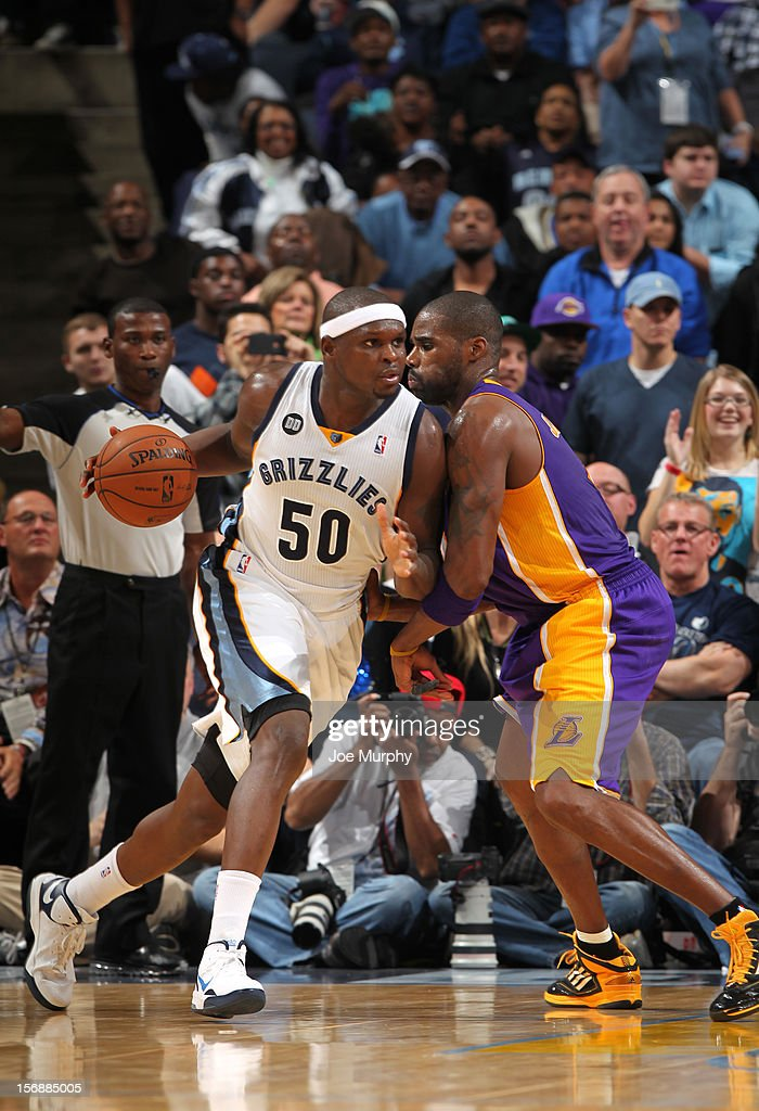 Zach Randolph #50 of the Memphis Grizzlies dribble against Antawn Jamison #4 of the Los Angeles Lakers on November 23, 2012 at FedExForum in Memphis, Tennessee.