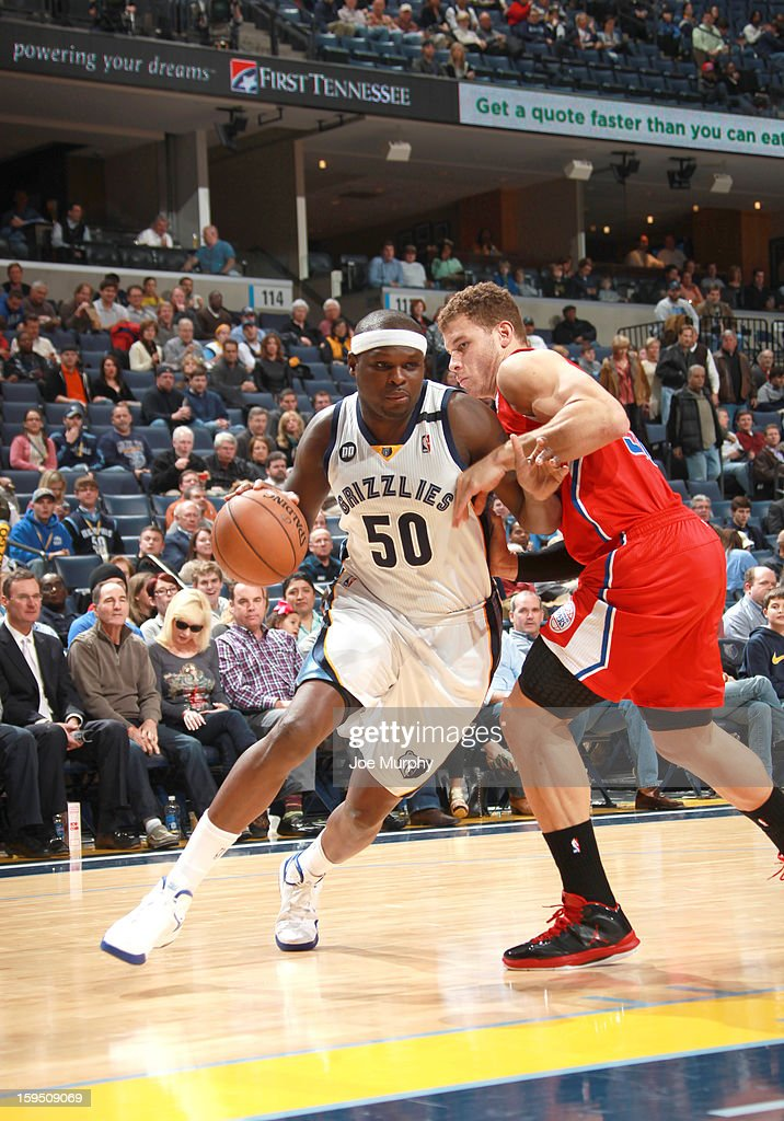 Zach Randolph #50 of the Memphis Grizzlies drives against Blake Griffin #32 of the Los Angeles Clippers on January 14, 2013 at FedExForum in Memphis, Tennessee.