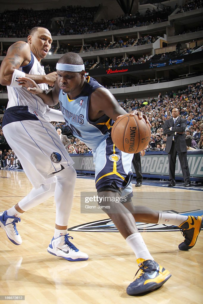 Zach Randolph #50 of the Memphis Grizzlies drives against Shawn Marion #0 of the Dallas Mavericks on January 12, 2013 at the American Airlines Center in Dallas, Texas.