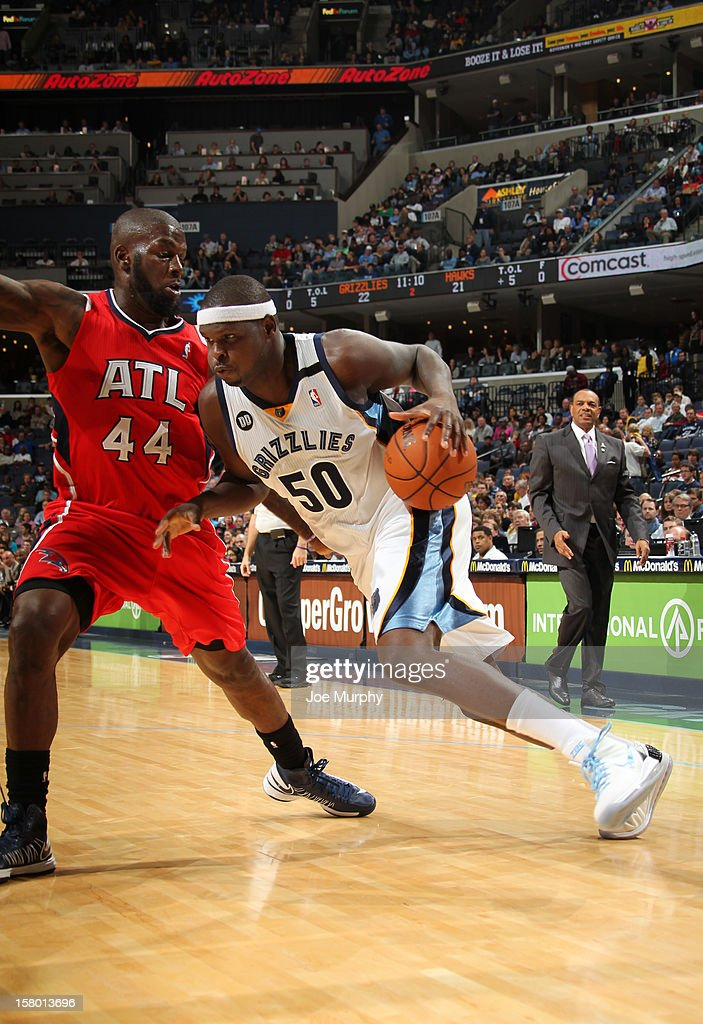 Zach Randolph #50 of the Memphis Grizzlies drives to the basket against Ivan Johnson #44 of the Atlanta Hawks on December 8, 2012 at FedExForum in Memphis, Tennessee.