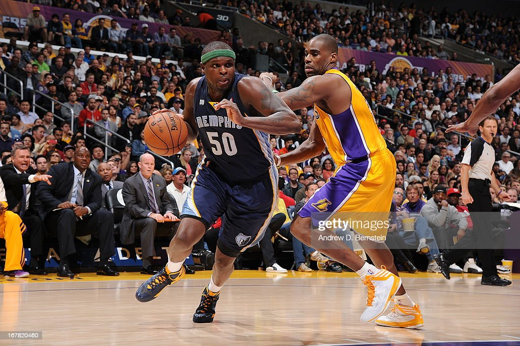 <a gi-track='captionPersonalityLinkClicked' href=/galleries/search?phrase=Zach+Randolph&family=editorial&specificpeople=201595 ng-click='$event.stopPropagation()'>Zach Randolph</a> #50 of the Memphis Grizzlies drives to the basket against <a gi-track='captionPersonalityLinkClicked' href=/galleries/search?phrase=Antawn+Jamison&family=editorial&specificpeople=201670 ng-click='$event.stopPropagation()'>Antawn Jamison</a> #4 of the Los Angeles Lakers at Staples Center on April 5, 2013 in Los Angeles, California.