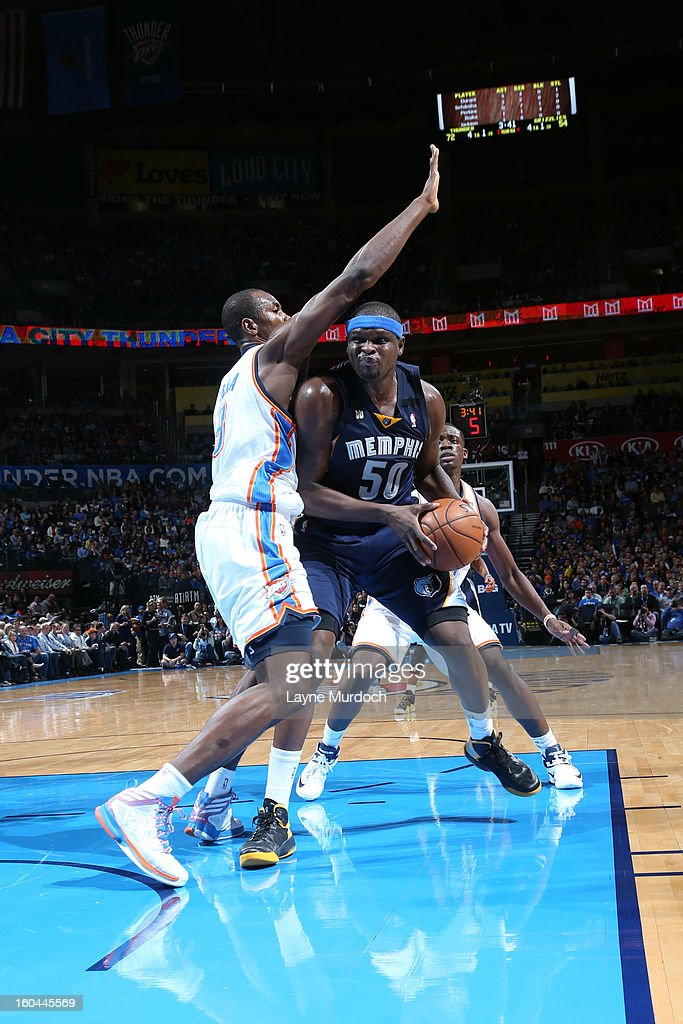 Zach Randolph #50 of the Memphis Grizzlies drives to the hole against Serge Ibaka #9 of the Oklahoma City Thunder during an NBA game on January 31, 2013 at the Chesapeake Energy Arena in Oklahoma City, Oklahoma.