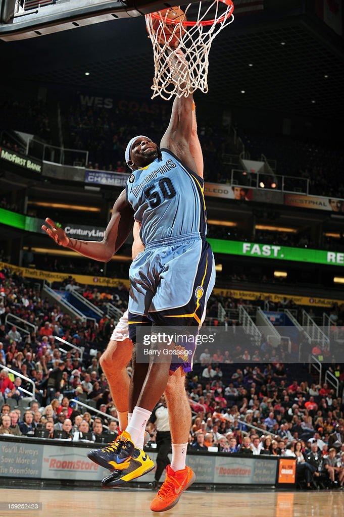 <a gi-track='captionPersonalityLinkClicked' href=/galleries/search?phrase=Zach+Randolph&family=editorial&specificpeople=201595 ng-click='$event.stopPropagation()'>Zach Randolph</a> #50 of the Memphis Grizzlies dunks the ball against the Phoenix Suns on January 6, 2013 at U.S. Airways Center in Phoenix, Arizona.