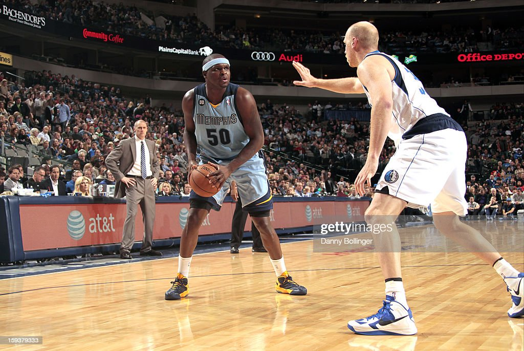 <a gi-track='captionPersonalityLinkClicked' href=/galleries/search?phrase=Zach+Randolph&family=editorial&specificpeople=201595 ng-click='$event.stopPropagation()'>Zach Randolph</a> #50 of the Memphis Grizzlies faces up against <a gi-track='captionPersonalityLinkClicked' href=/galleries/search?phrase=Chris+Kaman&family=editorial&specificpeople=201661 ng-click='$event.stopPropagation()'>Chris Kaman</a> #35 of the Dallas Mavericks on January 12, 2013 at the American Airlines Center in Dallas, Texas.