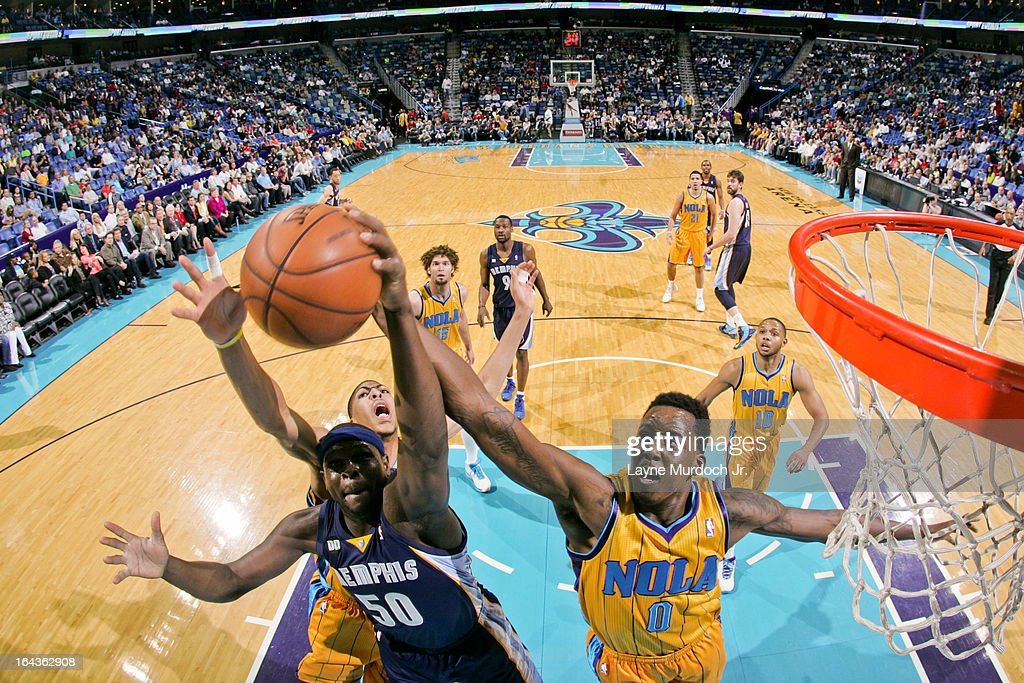<a gi-track='captionPersonalityLinkClicked' href=/galleries/search?phrase=Zach+Randolph&family=editorial&specificpeople=201595 ng-click='$event.stopPropagation()'>Zach Randolph</a> #50 of the Memphis Grizzlies fights for a rebound against <a gi-track='captionPersonalityLinkClicked' href=/galleries/search?phrase=Al-Farouq+Aminu&family=editorial&specificpeople=5042446 ng-click='$event.stopPropagation()'>Al-Farouq Aminu</a> #0 and Anthony Davis #23 of the New Orleans Hornets on March 22, 2013 at the New Orleans Arena in New Orleans, Louisiana.