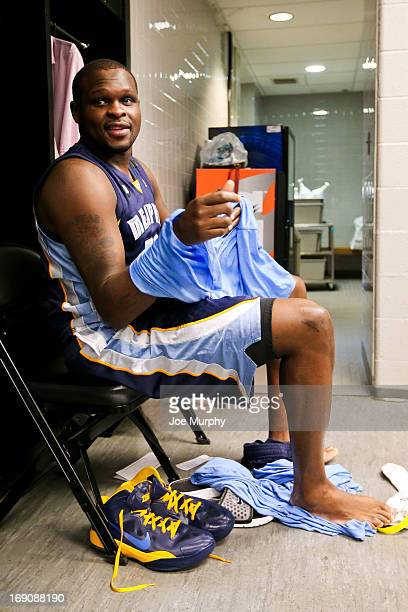 Zach Randolph of the Memphis Grizzlies gets ready in the locker room before playing against the San Antonio Spurs in Game One of the Western...