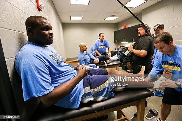 Zach Randolph of the Memphis Grizzlies gets taped up in the locker room before playing against the San Antonio Spurs in Game One of the Western...
