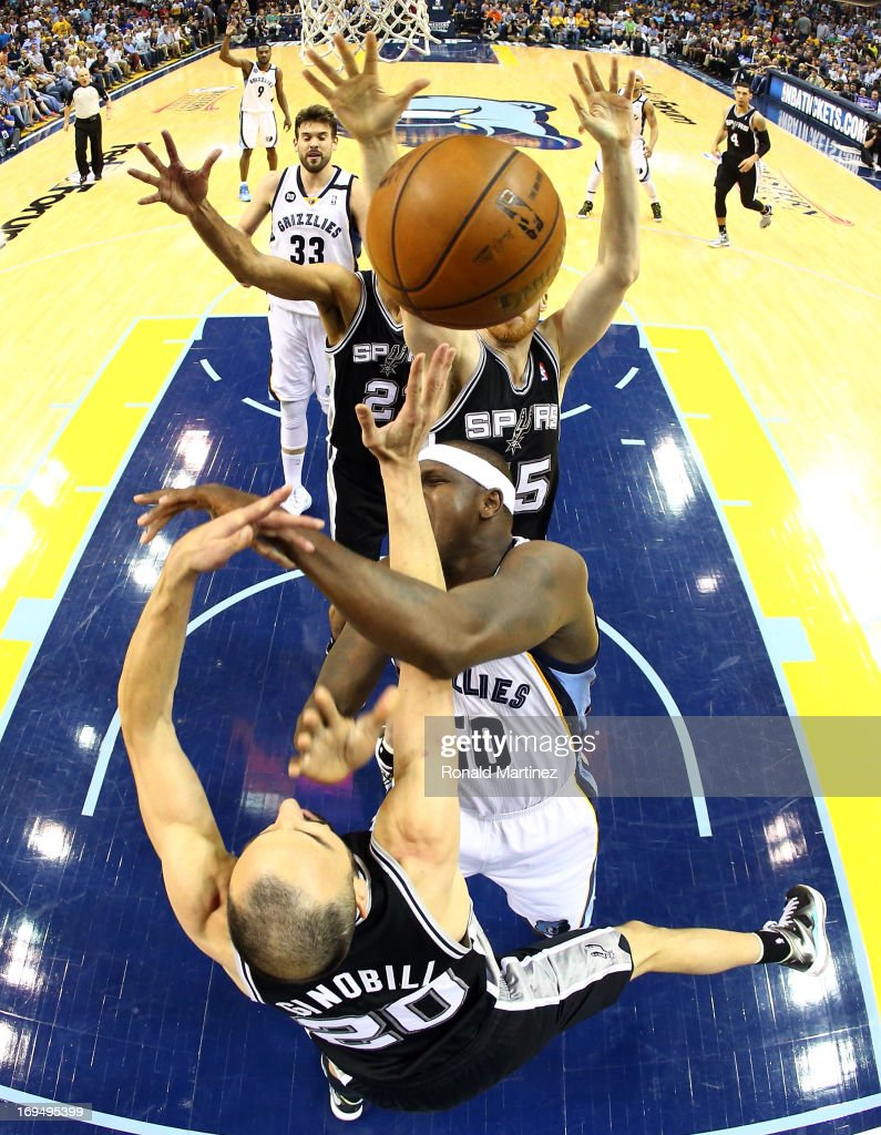<a gi-track='captionPersonalityLinkClicked' href=/galleries/search?phrase=Zach+Randolph&family=editorial&specificpeople=201595 ng-click='$event.stopPropagation()'>Zach Randolph</a> #50 of the Memphis Grizzlies goes for a shot against Manu Ginobili #20 of the San Antonio Spurs during Game Three of the Western Conference Finals of the 2013 NBA Playoffs at the FedExForum on May 25, 2013 in Memphis, Tennessee.
