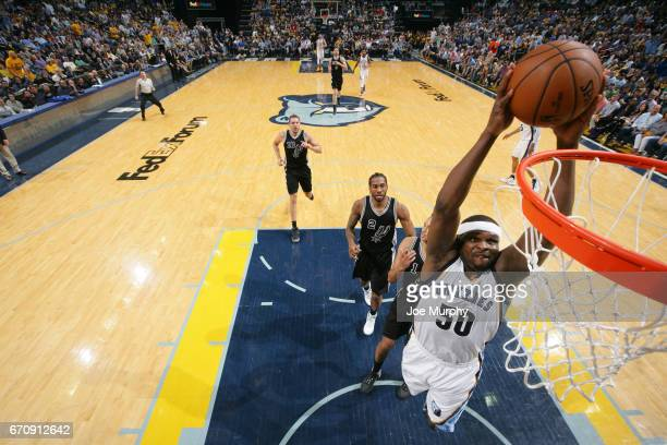 Zach Randolph of the Memphis Grizzlies goes up for a dunk against the San Antonio Spurs during Game Three of the Western Conference Quarterfinals of...
