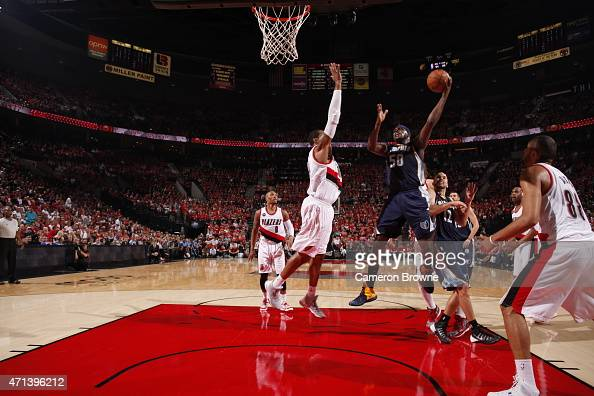 Zach Randolph of the Memphis Grizzlies goes up for a shot against the Portland Trail Blazers in Game Four of the Western Conference Quarterfinals...
