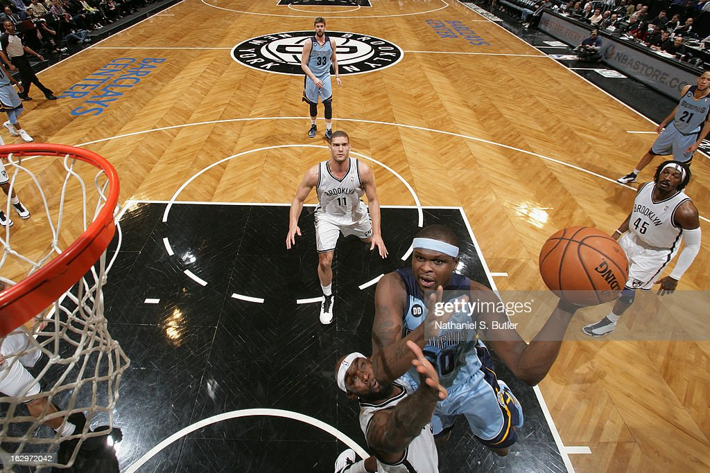 Zach Randolph #50 of the Memphis Grizzlies goes up strong to the basket against the Brooklyn Nets on February 24, 2013 at the Barclays Center in the Brooklyn borough of New York City.