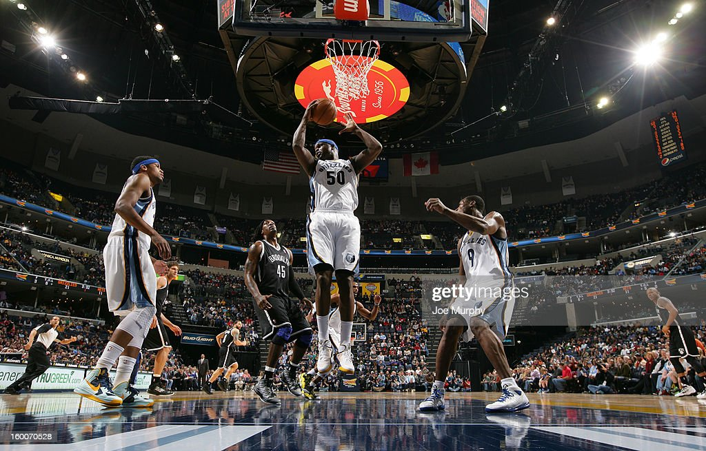 Zach Randolph #50 of the Memphis Grizzlies grabs a rebound against the Brooklyn Nets on January 25, 2013 at FedExForum in Memphis, Tennessee.