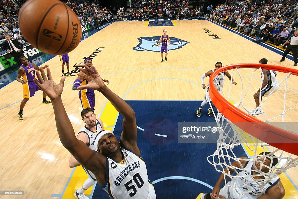 <a gi-track='captionPersonalityLinkClicked' href=/galleries/search?phrase=Zach+Randolph&family=editorial&specificpeople=201595 ng-click='$event.stopPropagation()'>Zach Randolph</a> #50 of the Memphis Grizzlies grabs a rebound against the Los Angeles Lakers on January 23, 2013 at FedExForum in Memphis, Tennessee.