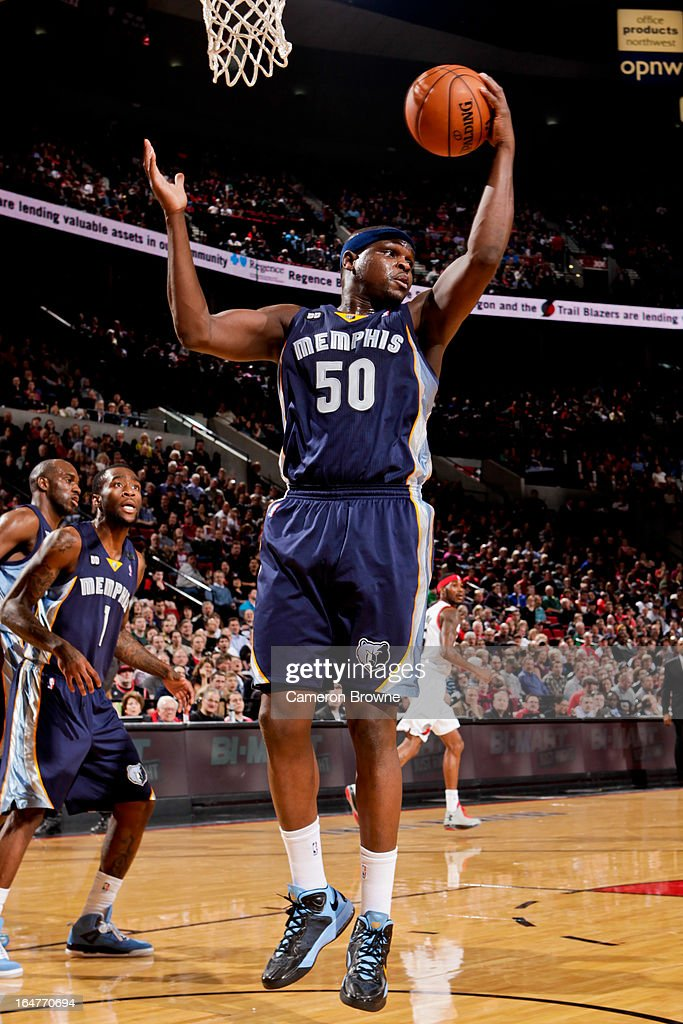 <a gi-track='captionPersonalityLinkClicked' href=/galleries/search?phrase=Zach+Randolph&family=editorial&specificpeople=201595 ng-click='$event.stopPropagation()'>Zach Randolph</a> #50 of the Memphis Grizzlies grabs a rebound against the Portland Trail Blazers on March 12, 2013 at the Rose Garden Arena in Portland, Oregon.