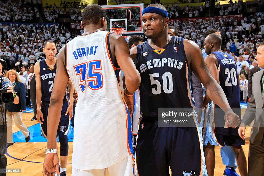 Zach Randolph #50 of the Memphis Grizzlies greets Kevin Durant #35 of the Oklahoma City Thunder following his team's series win against the Thunder in Game Five of the Western Conference Semifinals during the 2013 NBA Playoffs on May 15, 2013 at the Chesapeake Energy Arena in Oklahoma City, Oklahoma.