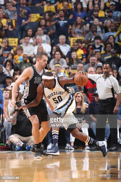 Zach Randolph of the Memphis Grizzlies handles the ball against David Lee of the San Antonio Spurs during Game Three of the Western Conference...