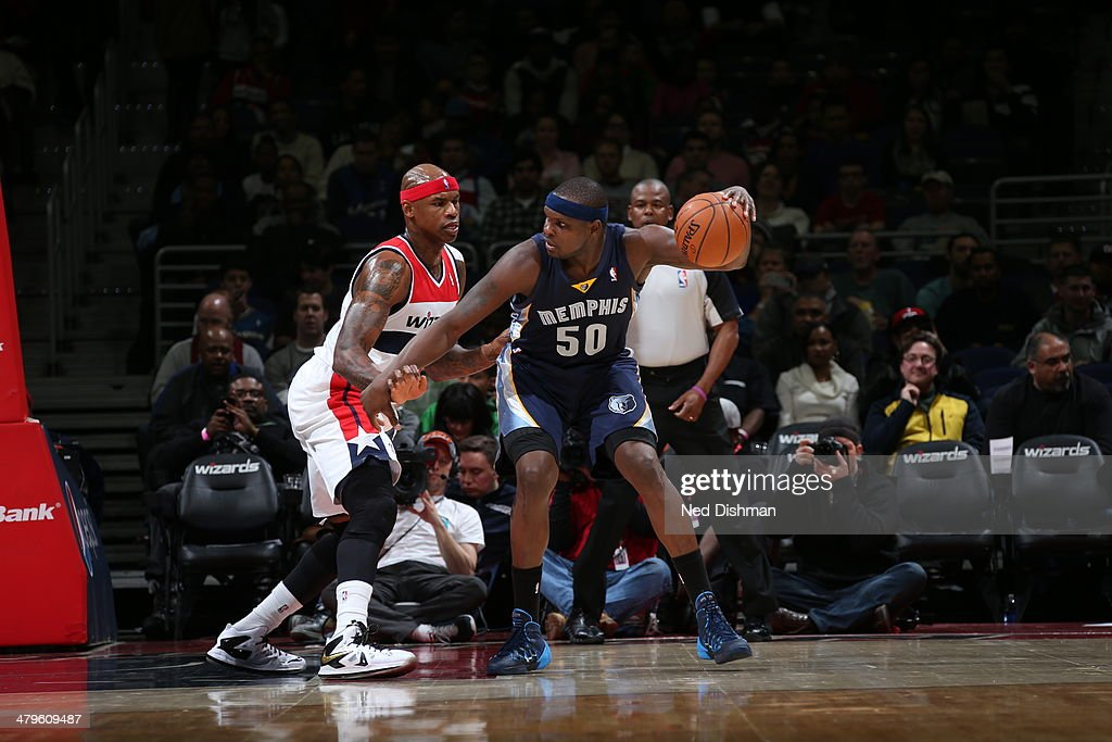 <a gi-track='captionPersonalityLinkClicked' href=/galleries/search?phrase=Zach+Randolph&family=editorial&specificpeople=201595 ng-click='$event.stopPropagation()'>Zach Randolph</a> #50 of the Memphis Grizzlies handles the ball against the Washington Wizards at the Verizon Center on March 3, 2014 in Washington, DC.