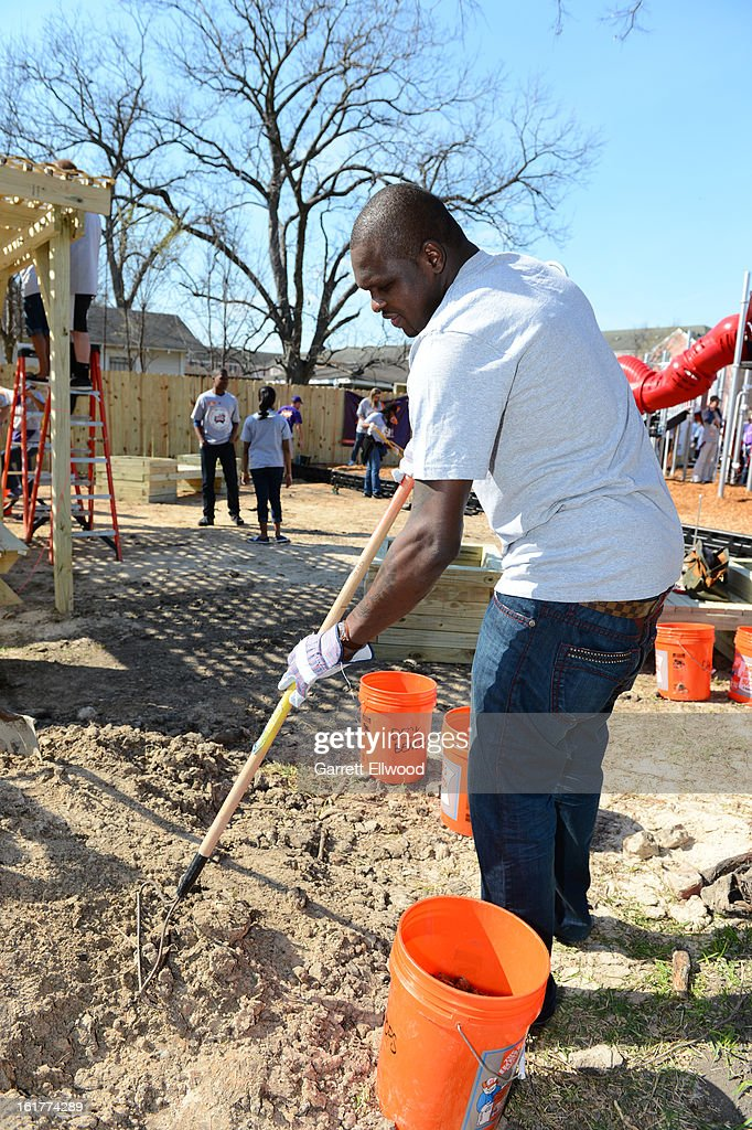 Zach Randolph #50 of the Memphis Grizzlies participates at the 2013 NBA Cares Day of Service at the Playground Build with KaBOOM! on February 15, 2013 in Houston, Texas.