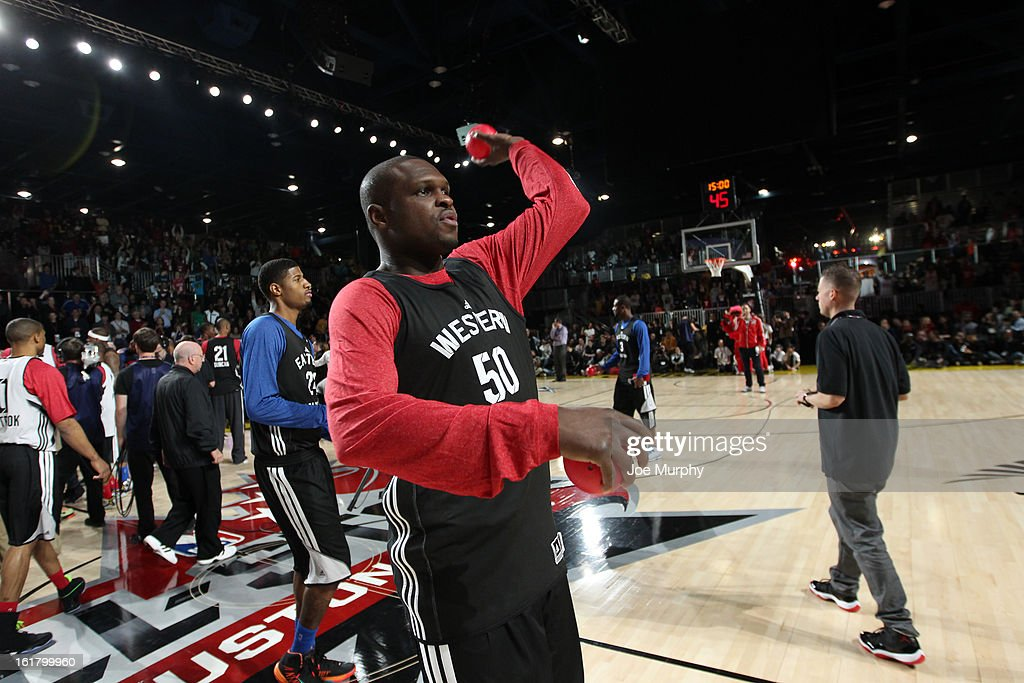 Zach Randolph #50 of the Memphis Grizzlies participates during the NBA All-Star Practice in Sprint Arena during the 2013 NBA All-Star Weekend on February 16, 2013 at the George R. Brown Convention Center in Houston, Texas.