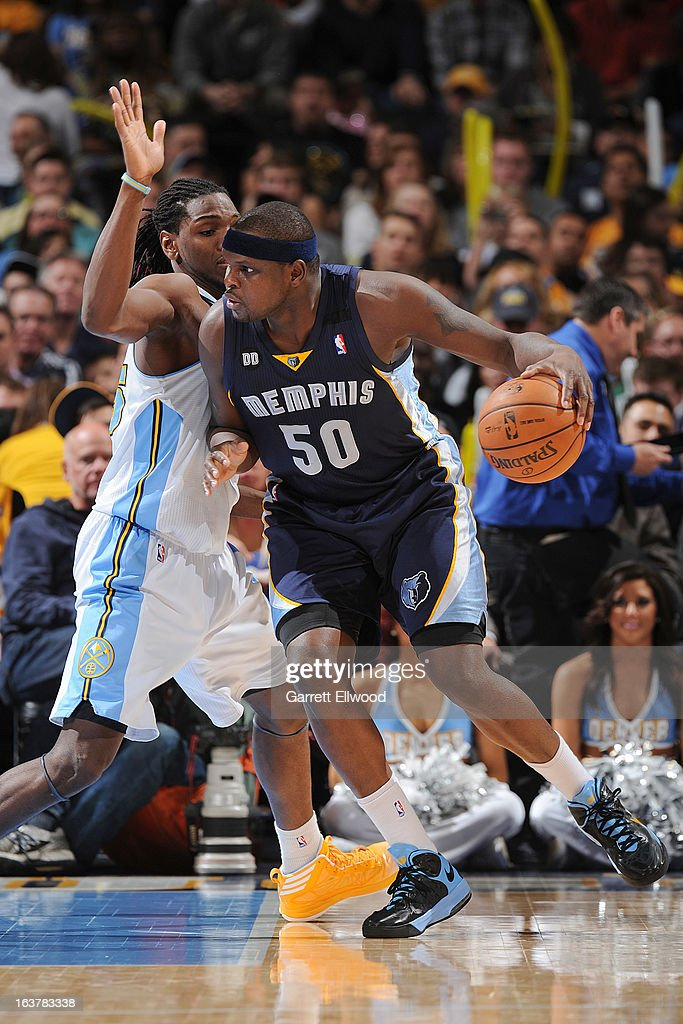 <a gi-track='captionPersonalityLinkClicked' href=/galleries/search?phrase=Zach+Randolph&family=editorial&specificpeople=201595 ng-click='$event.stopPropagation()'>Zach Randolph</a> #50 of the Memphis Grizzlies posts-up against <a gi-track='captionPersonalityLinkClicked' href=/galleries/search?phrase=Kenneth+Faried&family=editorial&specificpeople=5765135 ng-click='$event.stopPropagation()'>Kenneth Faried</a> #35 of the Denver Nuggets on March 15, 2013 at the Pepsi Center in Denver, Colorado.