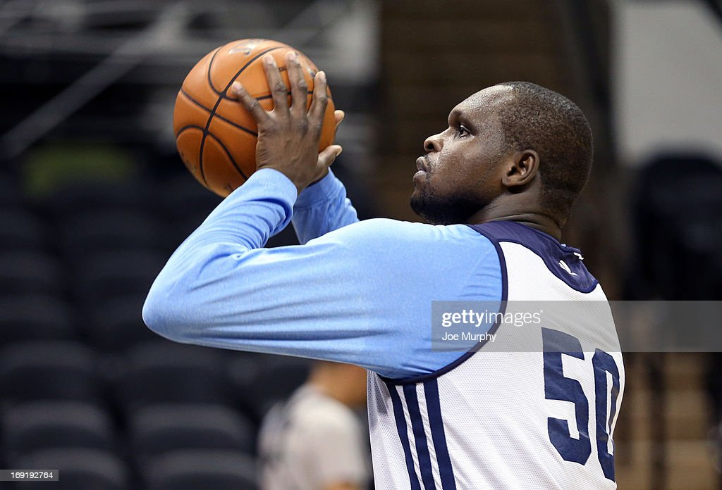 <a gi-track='captionPersonalityLinkClicked' href=/galleries/search?phrase=Zach+Randolph&family=editorial&specificpeople=201595 ng-click='$event.stopPropagation()'>Zach Randolph</a> #50 of the Memphis Grizzlies practices free throws at team practice during the Western Conference Finals during the 2013 NBA Playoffs on May 20, 2013 at the AT&T Center in San Antonio, Texas.