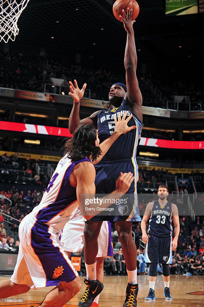 <a gi-track='captionPersonalityLinkClicked' href=/galleries/search?phrase=Zach+Randolph&family=editorial&specificpeople=201595 ng-click='$event.stopPropagation()'>Zach Randolph</a> #50 of the Memphis Grizzlies puts up a shot against the Phoenix Suns on December 12, 2012 at U.S. Airways Center in Phoenix, Arizona.