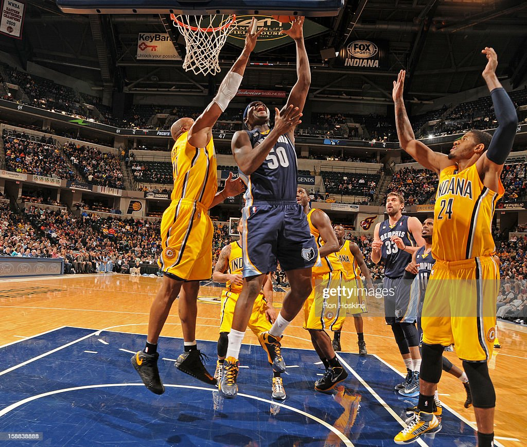 <a gi-track='captionPersonalityLinkClicked' href=/galleries/search?phrase=Zach+Randolph&family=editorial&specificpeople=201595 ng-click='$event.stopPropagation()'>Zach Randolph</a> #50 of the Memphis Grizzlies puts up a shot against the Indiana Pacers on December 31, 2012 at Bankers Life Fieldhouse in Indianapolis, Indiana.