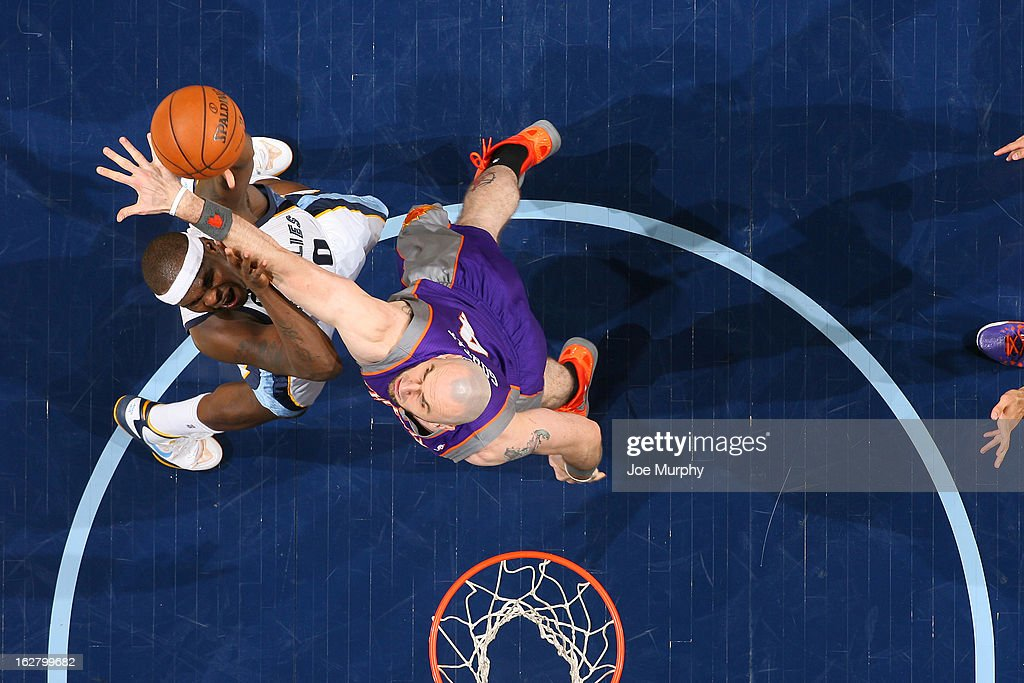 Zach Randolph #50 of the Memphis Grizzlies puts up a shot against the Phoenix Suns on February 5, 2013 at FedExForum in Memphis, Tennessee.