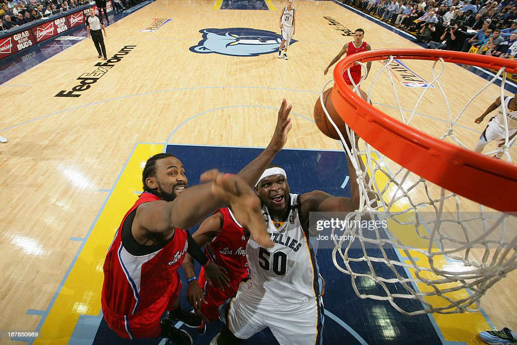 <a gi-track='captionPersonalityLinkClicked' href=/galleries/search?phrase=Zach+Randolph&family=editorial&specificpeople=201595 ng-click='$event.stopPropagation()'>Zach Randolph</a> #50 of the Memphis Grizzlies puts up a shot Los Angeles Clippers in Game Four of the Western Conference Quarterfinals during the 2013 NBA Playoffs on April 27, 2013 at FedExForum in Memphis, Tennessee.