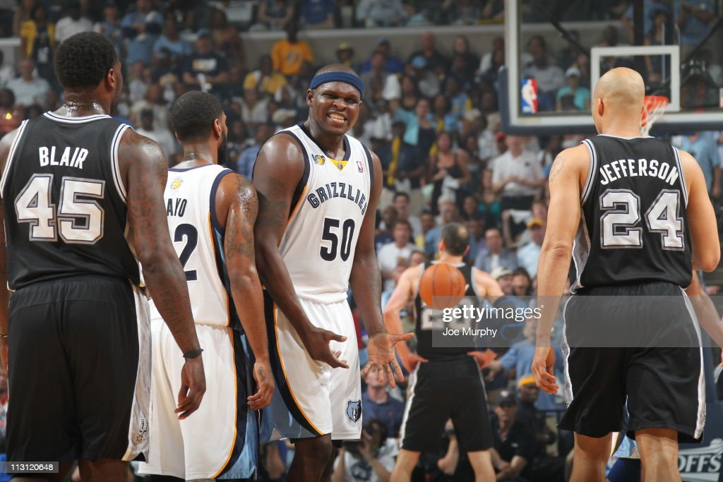 Zach Randolph #50 of the Memphis Grizzlies reacts after a play against the San Antonio Spurs in Game Three of the Western Conference Quarterfinals in the 2011 NBA Playoffs on April 23, 2011 at FedExForum in Memphis, Tennessee.