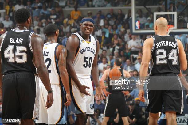 Zach Randolph of the Memphis Grizzlies reacts after a play against the San Antonio Spurs in Game Three of the Western Conference Quarterfinals in the...