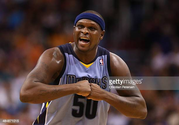 Zach Randolph of the Memphis Grizzlies reacts during the second half of the NBA game against the Phoenix Suns at US Airways Center on April 14 2014...