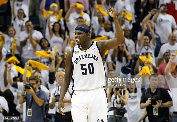 Zach Randolph of the Memphis Grizzlies reacts in the final seconds of their 9583 win over the Oklahoma City Thunder in Game Six of the Western...