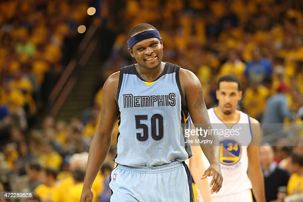 Zach Randolph of the Memphis Grizzlies reacts to a play against the Golden State Warriors in Game Two of the Western Conference Semifinals during the...