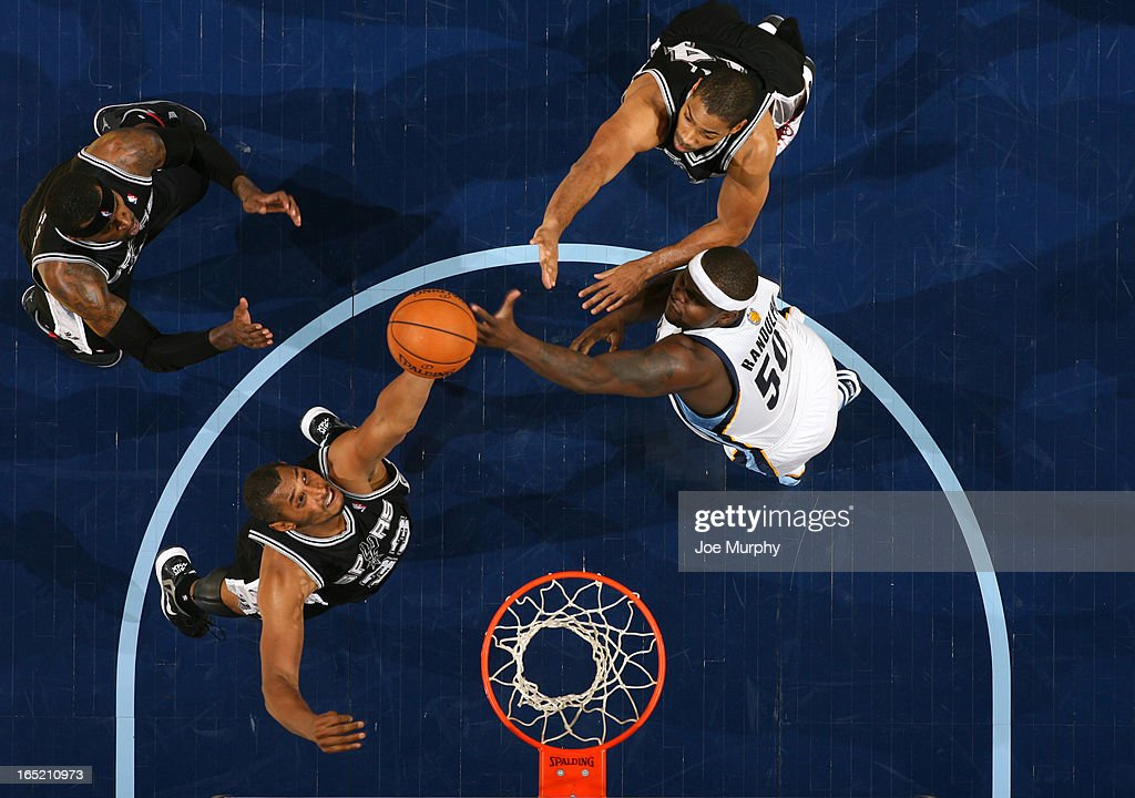 <a gi-track='captionPersonalityLinkClicked' href=/galleries/search?phrase=Zach+Randolph&family=editorial&specificpeople=201595 ng-click='$event.stopPropagation()'>Zach Randolph</a> #50 of the Memphis Grizzlies rebounds against <a gi-track='captionPersonalityLinkClicked' href=/galleries/search?phrase=Boris+Diaw&family=editorial&specificpeople=201505 ng-click='$event.stopPropagation()'>Boris Diaw</a> #33 of the San Antonio Spurs on April 1, 2013 at FedExForum in Memphis, Tennessee.