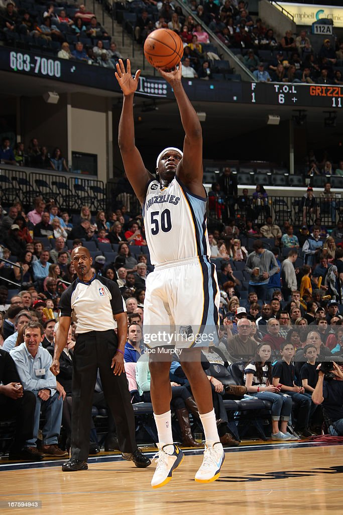 <a gi-track='captionPersonalityLinkClicked' href=/galleries/search?phrase=Zach+Randolph&family=editorial&specificpeople=201595 ng-click='$event.stopPropagation()'>Zach Randolph</a> #50 of the Memphis Grizzlies shoots a jumper against the Houston Rockets on March 29, 2013 at FedExForum in Memphis, Tennessee.