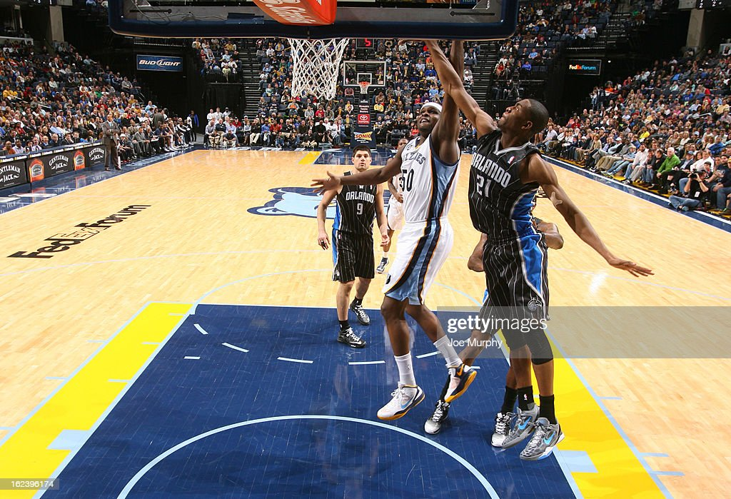 <a gi-track='captionPersonalityLinkClicked' href=/galleries/search?phrase=Zach+Randolph&family=editorial&specificpeople=201595 ng-click='$event.stopPropagation()'>Zach Randolph</a> #50 of the Memphis Grizzlies shoots a layup against Maurice Harkless #21 of the Orlando Magic on February 22, 2013 at FedExForum in Memphis, Tennessee.