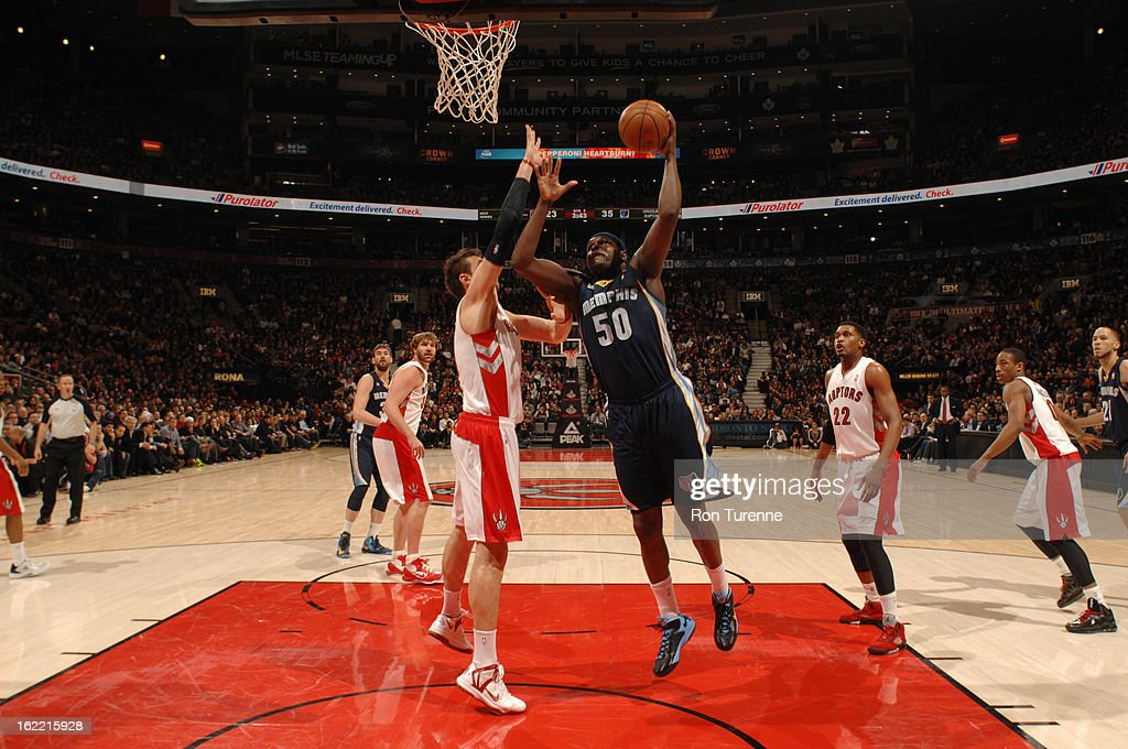 Zach Randolph #50 of the Memphis Grizzlies shoots against Andrea Bargnani #7 of the Toronto Raptors on February 20, 2013 at the Air Canada Centre in Toronto, Ontario, Canada.