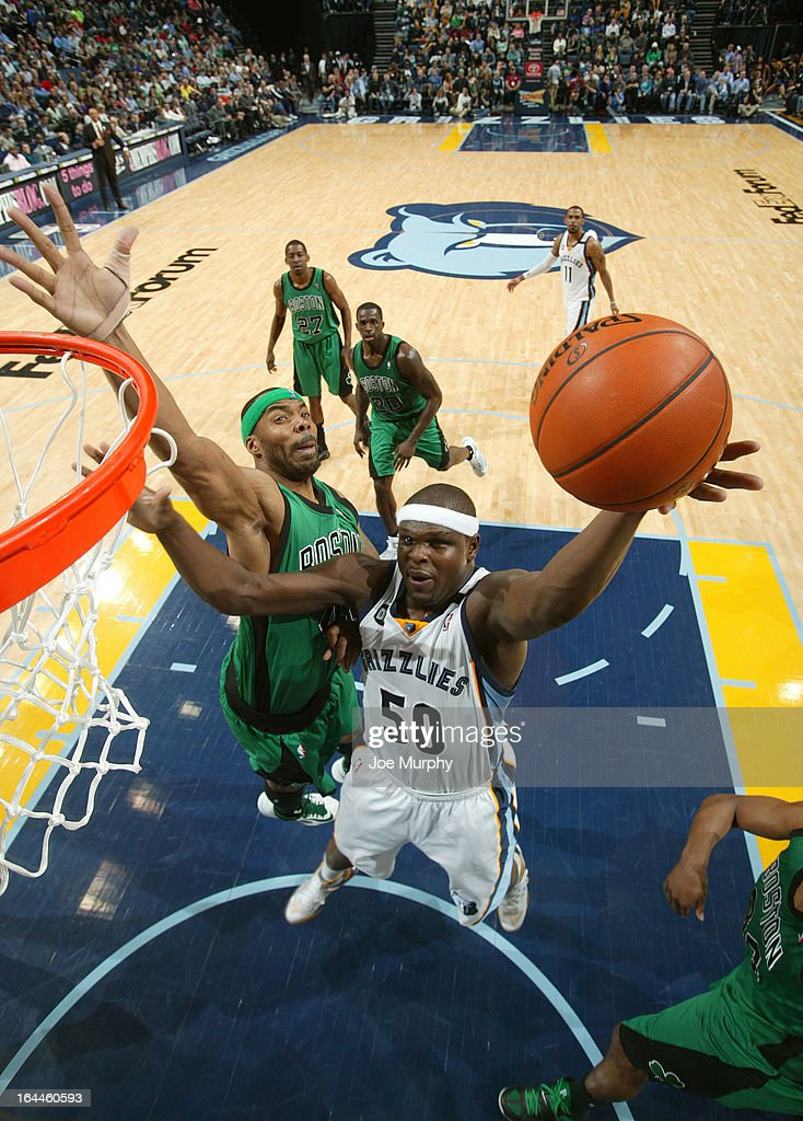 Zach Randolph #50 of the Memphis Grizzlies shoots against Chris Wilcox #44 of the Boston Celtics on March 23, 2013 at FedExForum in Memphis, Tennessee.