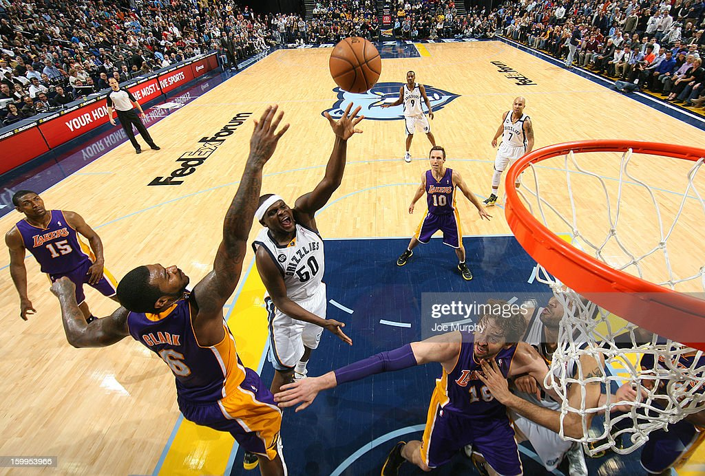 <a gi-track='captionPersonalityLinkClicked' href=/galleries/search?phrase=Zach+Randolph&family=editorial&specificpeople=201595 ng-click='$event.stopPropagation()'>Zach Randolph</a> #50 of the Memphis Grizzlies shoots against Earl Clark #6 of the Los Angeles Lakers on January 23, 2013 at FedExForum in Memphis, Tennessee.