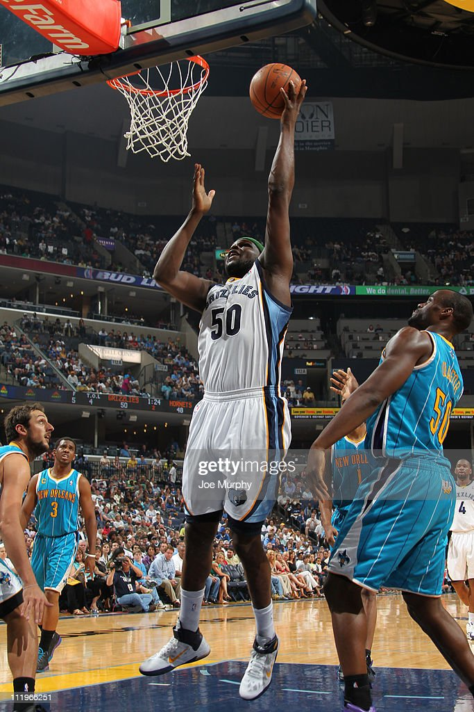 <a gi-track='captionPersonalityLinkClicked' href=/galleries/search?phrase=Zach+Randolph&family=editorial&specificpeople=201595 ng-click='$event.stopPropagation()'>Zach Randolph</a> #50 of the Memphis Grizzlies shoots against <a gi-track='captionPersonalityLinkClicked' href=/galleries/search?phrase=Emeka+Okafor&family=editorial&specificpeople=201739 ng-click='$event.stopPropagation()'>Emeka Okafor</a> #50 of the New Orleans Hornets during the game on April 10, 2011 at FedExForum in Memphis, Tennessee.