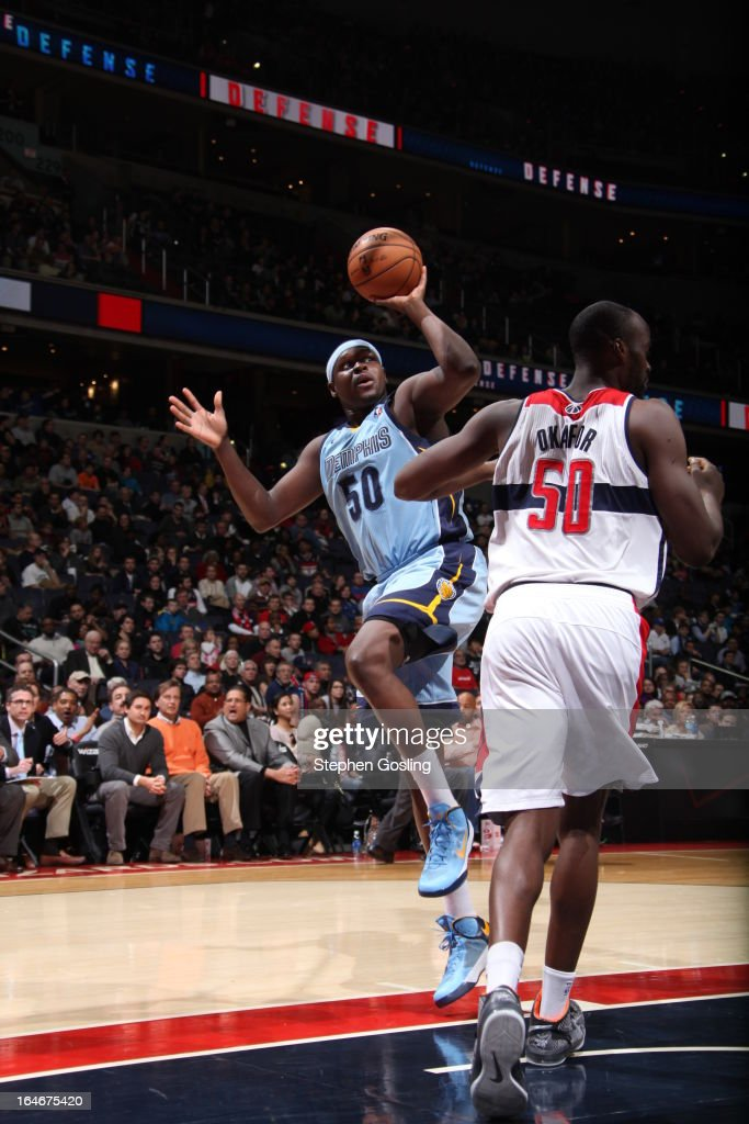 <a gi-track='captionPersonalityLinkClicked' href=/galleries/search?phrase=Zach+Randolph&family=editorial&specificpeople=201595 ng-click='$event.stopPropagation()'>Zach Randolph</a> #50 of the Memphis Grizzlies shoots against <a gi-track='captionPersonalityLinkClicked' href=/galleries/search?phrase=Emeka+Okafor&family=editorial&specificpeople=201739 ng-click='$event.stopPropagation()'>Emeka Okafor</a> #50 of the Washington Wizards at the Verizon Center on March 25, 2013 in Washington, DC.
