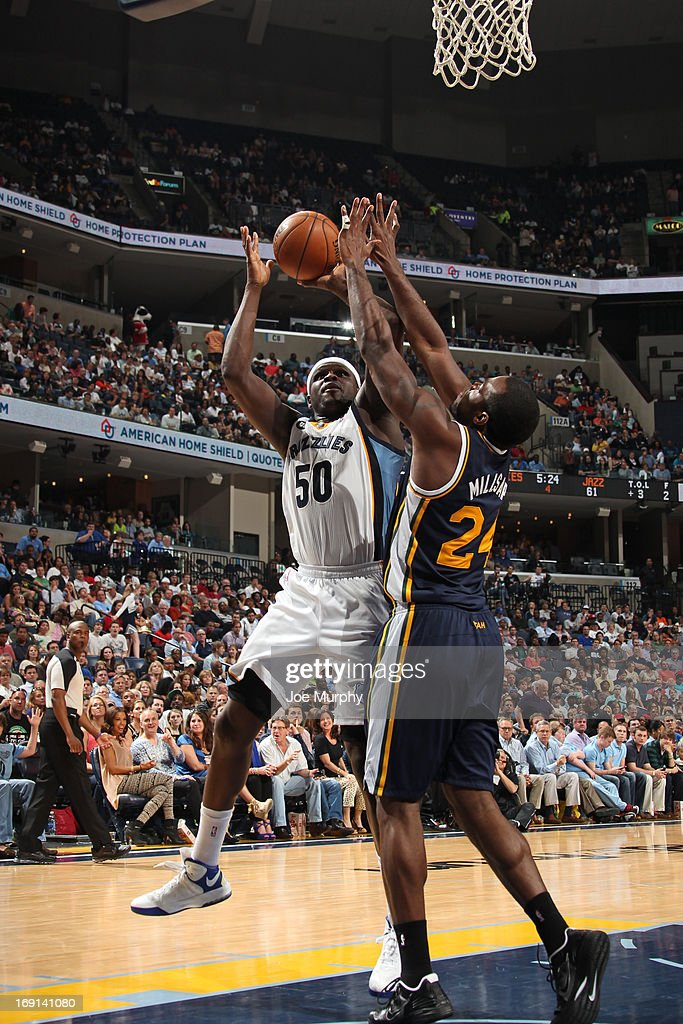 <a gi-track='captionPersonalityLinkClicked' href=/galleries/search?phrase=Zach+Randolph&family=editorial&specificpeople=201595 ng-click='$event.stopPropagation()'>Zach Randolph</a> #50 of the Memphis Grizzlies shoots against <a gi-track='captionPersonalityLinkClicked' href=/galleries/search?phrase=Paul+Millsap&family=editorial&specificpeople=880017 ng-click='$event.stopPropagation()'>Paul Millsap</a> #24 of the Utah Jazz on April 17, 2013 at FedExForum in Memphis, Tennessee.