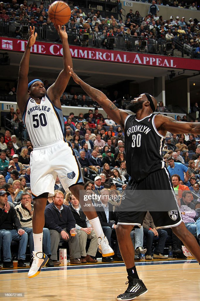 Zach Randolph #50 of the Memphis Grizzlies shoots against Reggie Evans #30 of the Brooklyn Nets on January 25, 2013 at FedExForum in Memphis, Tennessee.