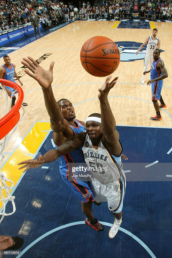 <a gi-track='captionPersonalityLinkClicked' href=/galleries/search?phrase=Zach+Randolph&family=editorial&specificpeople=201595 ng-click='$event.stopPropagation()'>Zach Randolph</a> #50 of the Memphis Grizzlies shoots against <a gi-track='captionPersonalityLinkClicked' href=/galleries/search?phrase=Serge+Ibaka&family=editorial&specificpeople=5133378 ng-click='$event.stopPropagation()'>Serge Ibaka</a> #9 of the Oklahoma City Thunder on March 20, 2013 at FedExForum in Memphis, Tennessee.