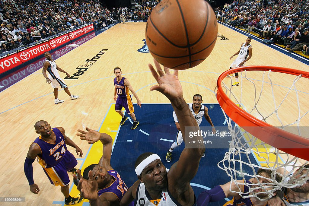 <a gi-track='captionPersonalityLinkClicked' href=/galleries/search?phrase=Zach+Randolph&family=editorial&specificpeople=201595 ng-click='$event.stopPropagation()'>Zach Randolph</a> #50 of the Memphis Grizzlies shoots against the Los Angeles Lakers on January 23, 2013 at FedExForum in Memphis, Tennessee.