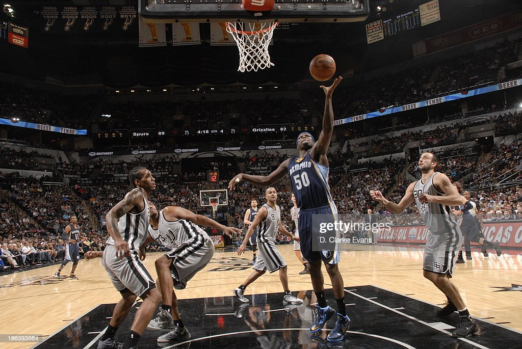 Zach Randolph #50 of the Memphis Grizzlies shoots against the San Antonio Spurs at the AT&T Center on October 30, 2013 in San Antonio, Texas.